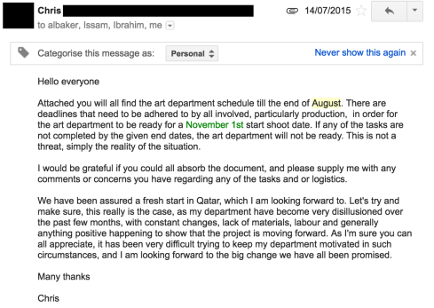 Email From Chris to Arab Telemedia suggesting way forward